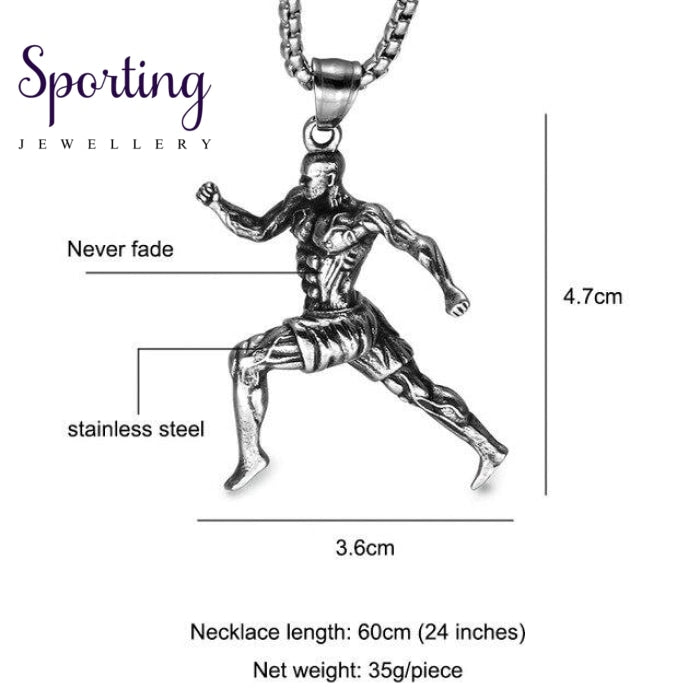Us7 Muscular Man Running Charm Vintage Pendant & Necklaces Stainless Steel Sports Fitness Sportsman