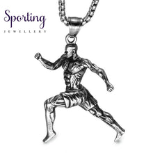 Load image into Gallery viewer, Us7 Muscular Man Running Charm Vintage Pendant & Necklaces Stainless Steel Sports Fitness Sportsman
