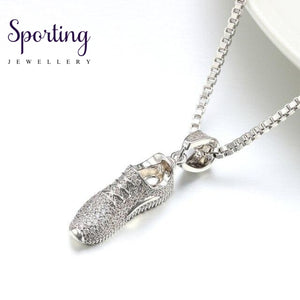 Vanaxin Sport Shoes Pendant Necklace For Women&men Ice Out Inlay Cz Charms Gold/silver Color