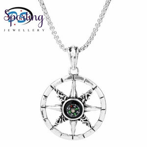 Vintage Compass Glass Dome Necklace Men Women Outdoor Sport Jewellery Pendant Chain Charms Choker