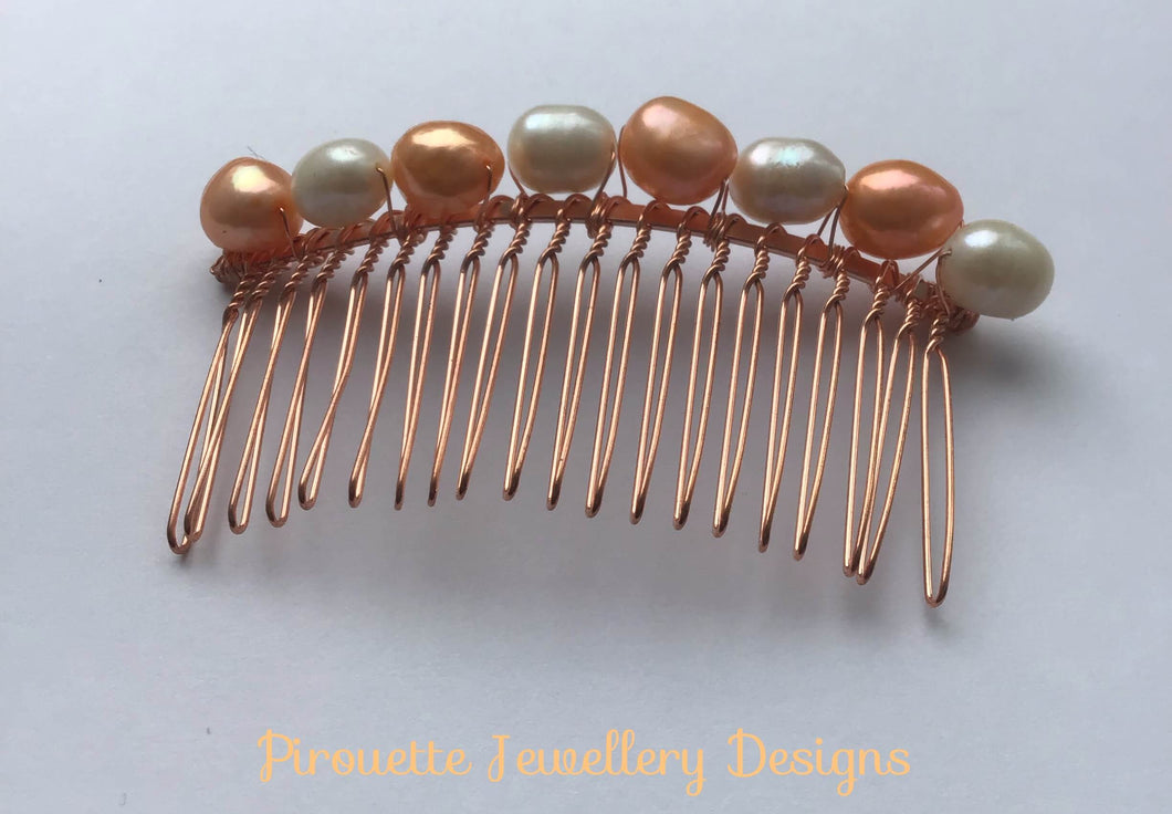 Multi Coloured Freshwater Pearl Hair-comb - Pirouette Jewellery Designs