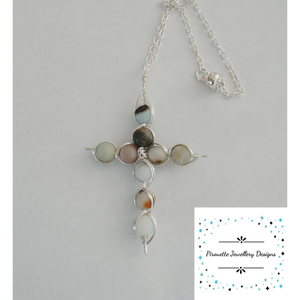Silver plated cross with Amazonite - Pirouette Jewellery Designs