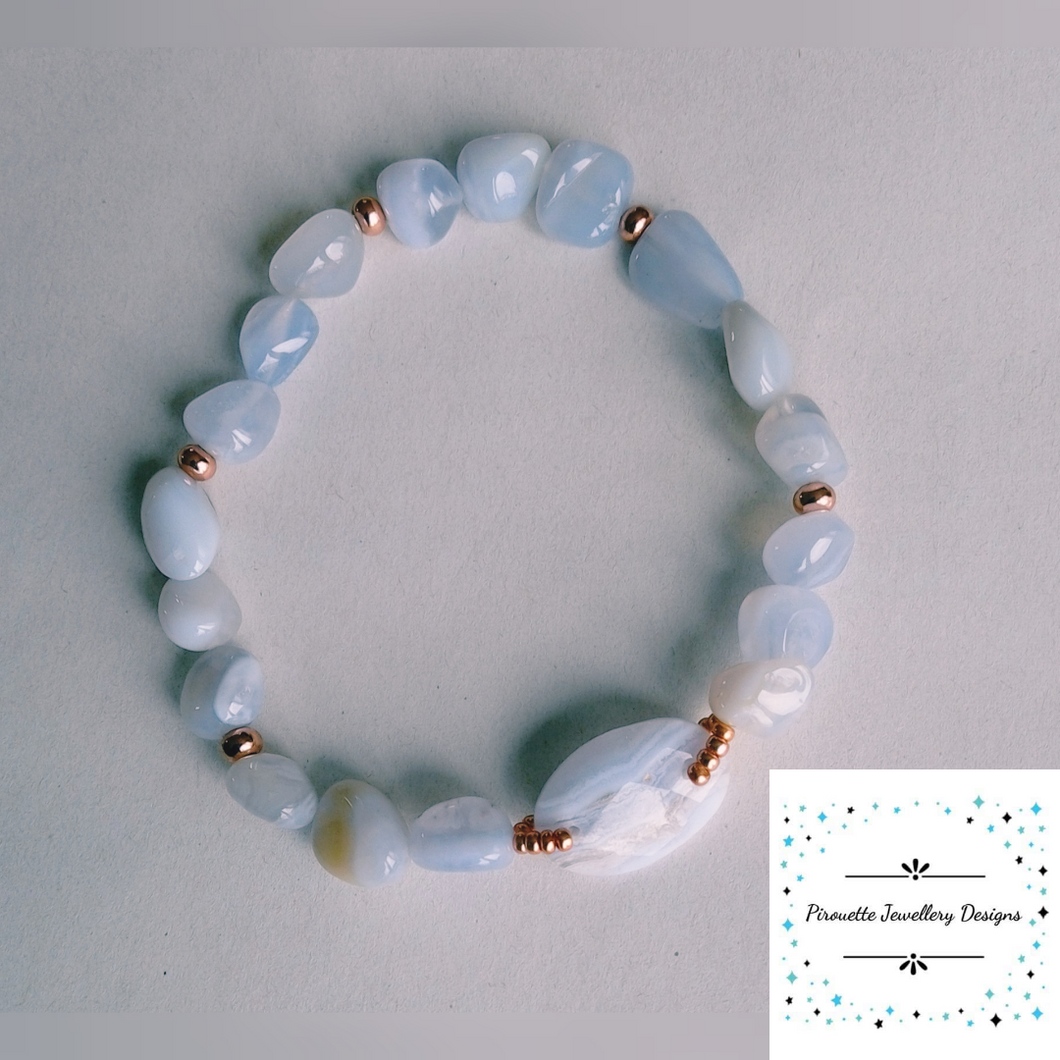 Blue Lace Agate nugget stretch bracelet - Pirouette Jewellery Designs