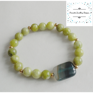Peridot and Agate stretch bracelet - Pirouette Jewellery Designs