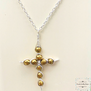 Cross silver plated with Heamatite - Pirouette Jewellery Designs