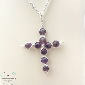 Silver plated cross with florite - Pirouette Jewellery Designs