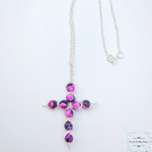 Silver plated wire cross With Agate - Pirouette Jewellery Designs