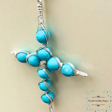 Load image into Gallery viewer, Dyed Magnesite Cross necklace - Pirouette Jewellery Designs