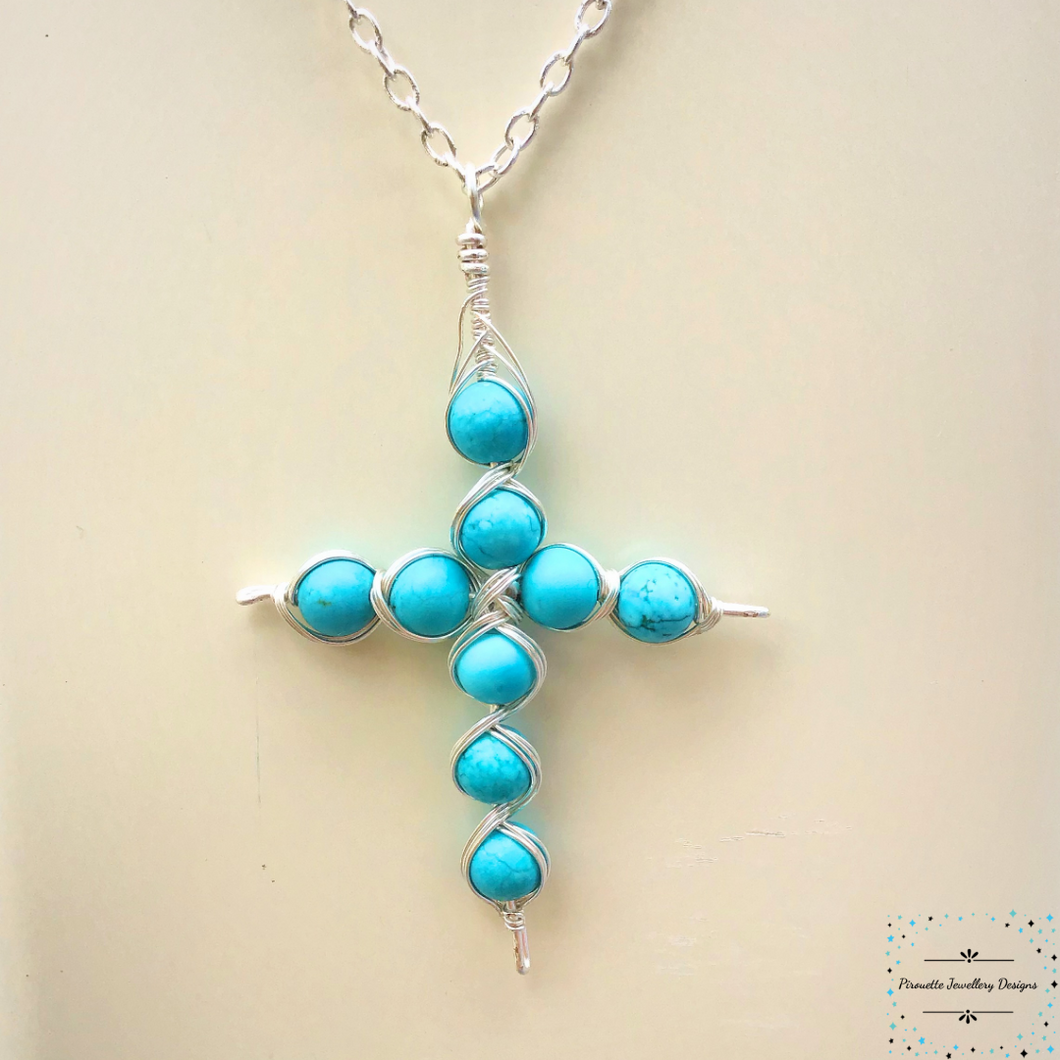 Dyed Magnesite Cross necklace - Pirouette Jewellery Designs