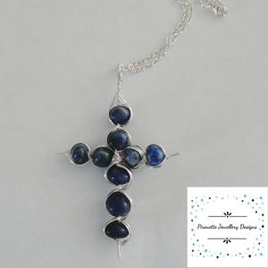 Cross silver plated with Sodalite - Pirouette Jewellery Designs