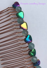 Load image into Gallery viewer, Rainbow Hematite and Quartz Hair-Comb - Pirouette Jewellery Designs