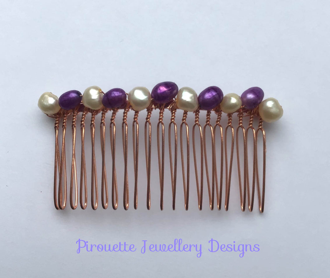 Purple and White Coloured Pearl Hair comb - Pirouette Jewellery Designs