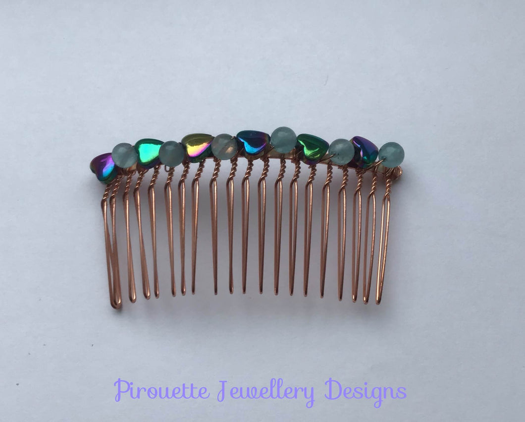 Rainbow Hematite and Quartz Hair-Comb - Pirouette Jewellery Designs
