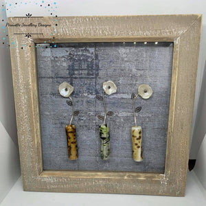 Pearl and Black Diamond Flower box frame - Pirouette Jewellery Designs