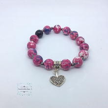 Load image into Gallery viewer, Pretty-in-pink Jasper stretch bracelet with heart charm - Pirouette Jewellery Designs