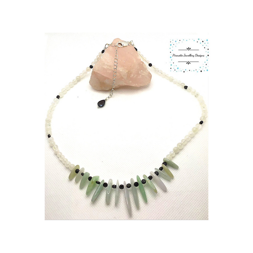 Jadeite & Moonstone necklace - Pirouette Jewellery Designs