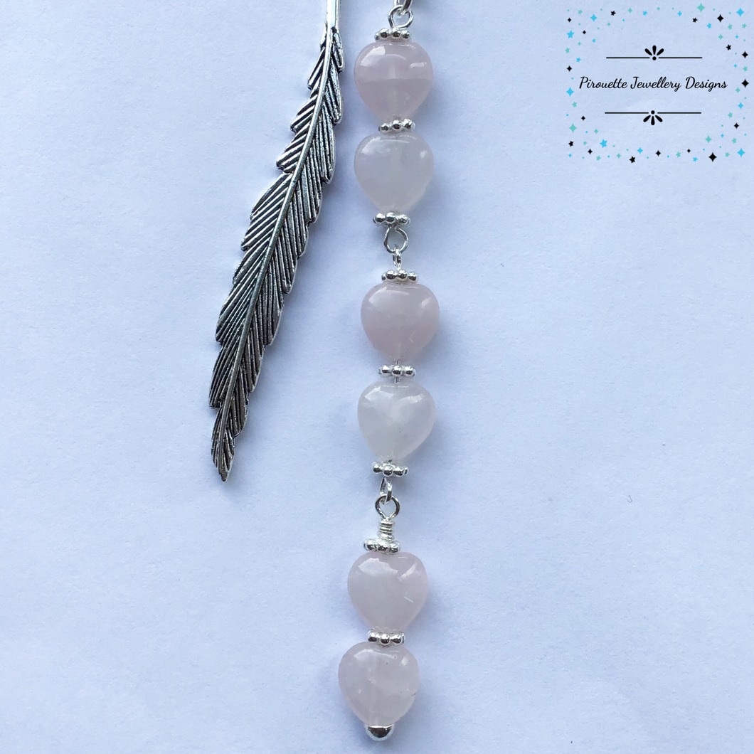 Rose Quartz Hearts bookmark - Pirouette Jewellery Designs