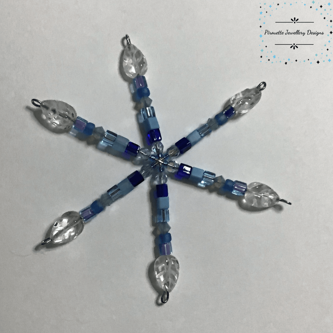 Small Blue Christmas Star decoration - Pirouette Jewellery Designs