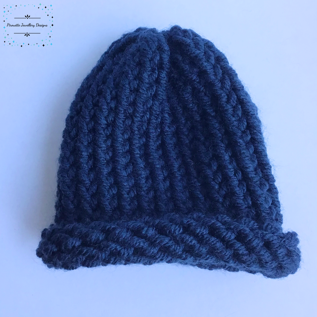 Navy Blue knitted baby hat - Pirouette Jewellery Designs