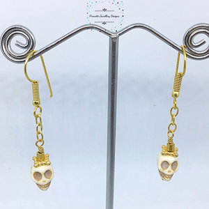 Acrylic Skull and chain earrings - Pirouette Jewellery Designs