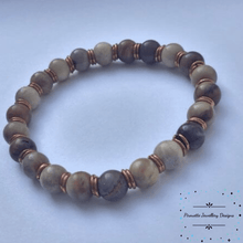 Load image into Gallery viewer, Petrified Wood Stretch Bracelet - Pirouette Jewellery Designs
