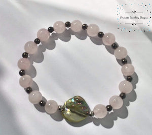 Rose Quartz and Mother of pearl stretch bead Bracelet  - Pirouette Jewellery Designs