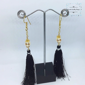 Skull, chain and black Tassel Earrings - Pirouette Jewellery Designs