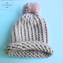 Load image into Gallery viewer, Blush coloured knitted baby hat with Pom-Pom - Pirouette Jewellery Designs