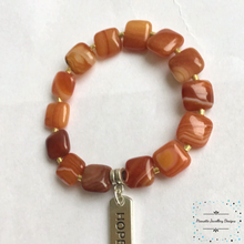 Load image into Gallery viewer, Sunburnt Orange Agate Stretch Bracelet - Pirouette Jewellery Designs