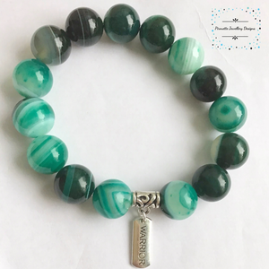 Green Genuine Agate Stretch Bracelet - Pirouette Jewellery Designs