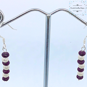 Garnet and stardust bead earrings - Pirouette Jewellery Designs