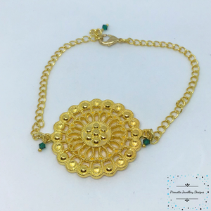 Gold plated mandala Style Bracelet - Pirouette Jewellery Designs