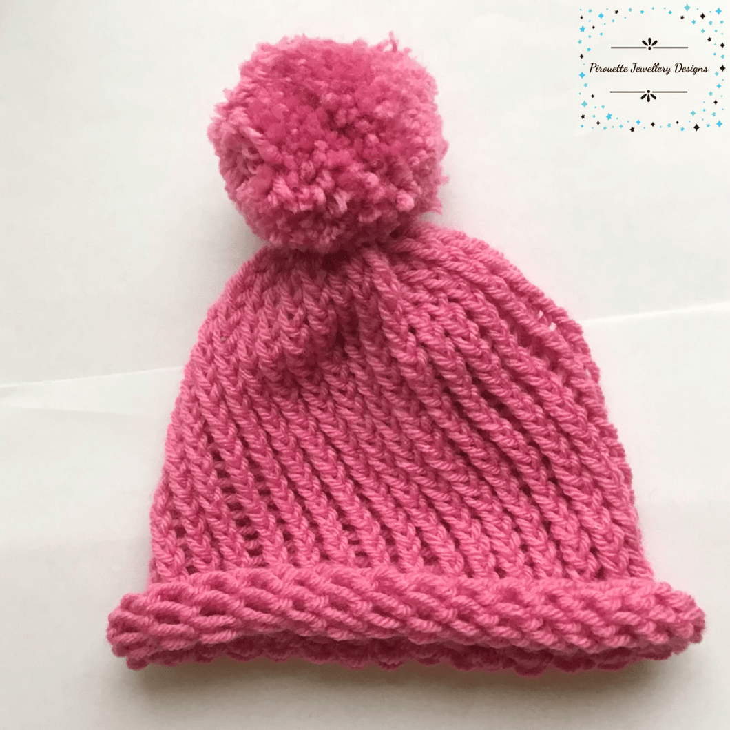 Pink Knitted Child Hat with Pom-Pom - Pirouette Jewellery Designs