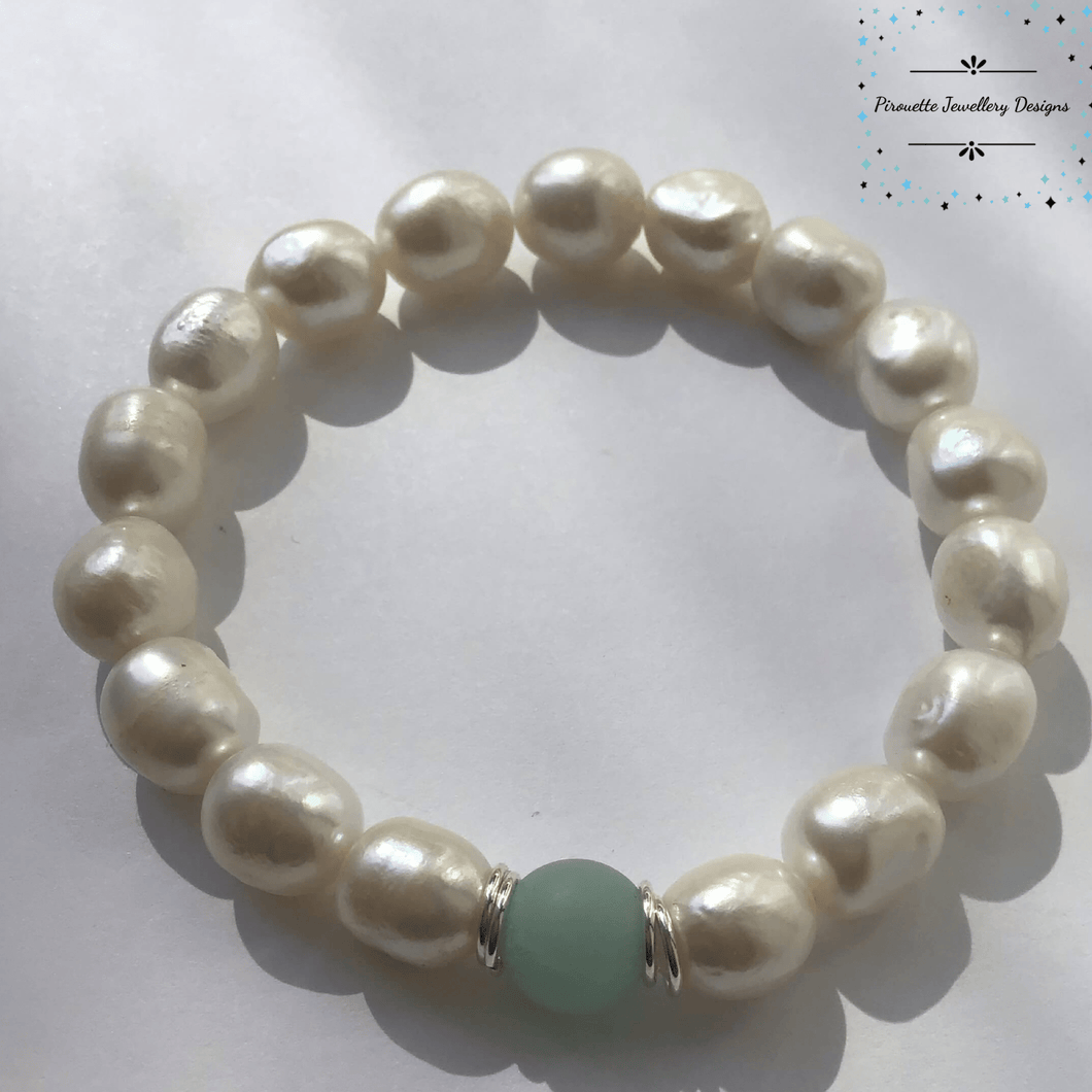 Amazonite and Pearl stretch bracelet - Pirouette Jewellery Designs
