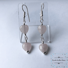 Load image into Gallery viewer, Rose Quartz Heart Earrings - Pirouette Jewellery Designs
