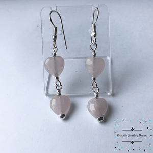 Rose Quartz Heart Earrings - Pirouette Jewellery Designs