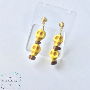 Acrylic Skulls and Tigers Eye gold plated earrings - Pirouette Jewellery Designs