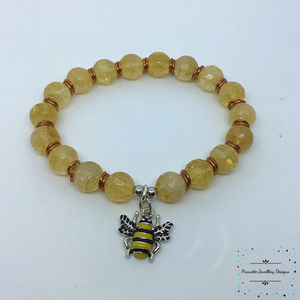 Bee-autiful Citrine and Copper stretch bracelet - Pirouette Jewellery Designs