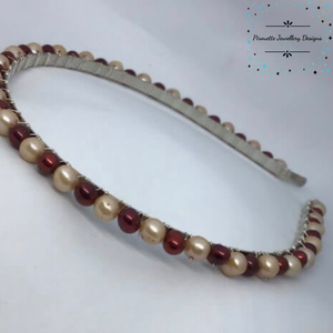 Champagne and Mulberry Freshwater Pearl Hairband - Pirouette Jewellery Designs