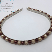 Load image into Gallery viewer, Champagne and Mulberry Freshwater Pearl Hairband - Pirouette Jewellery Designs