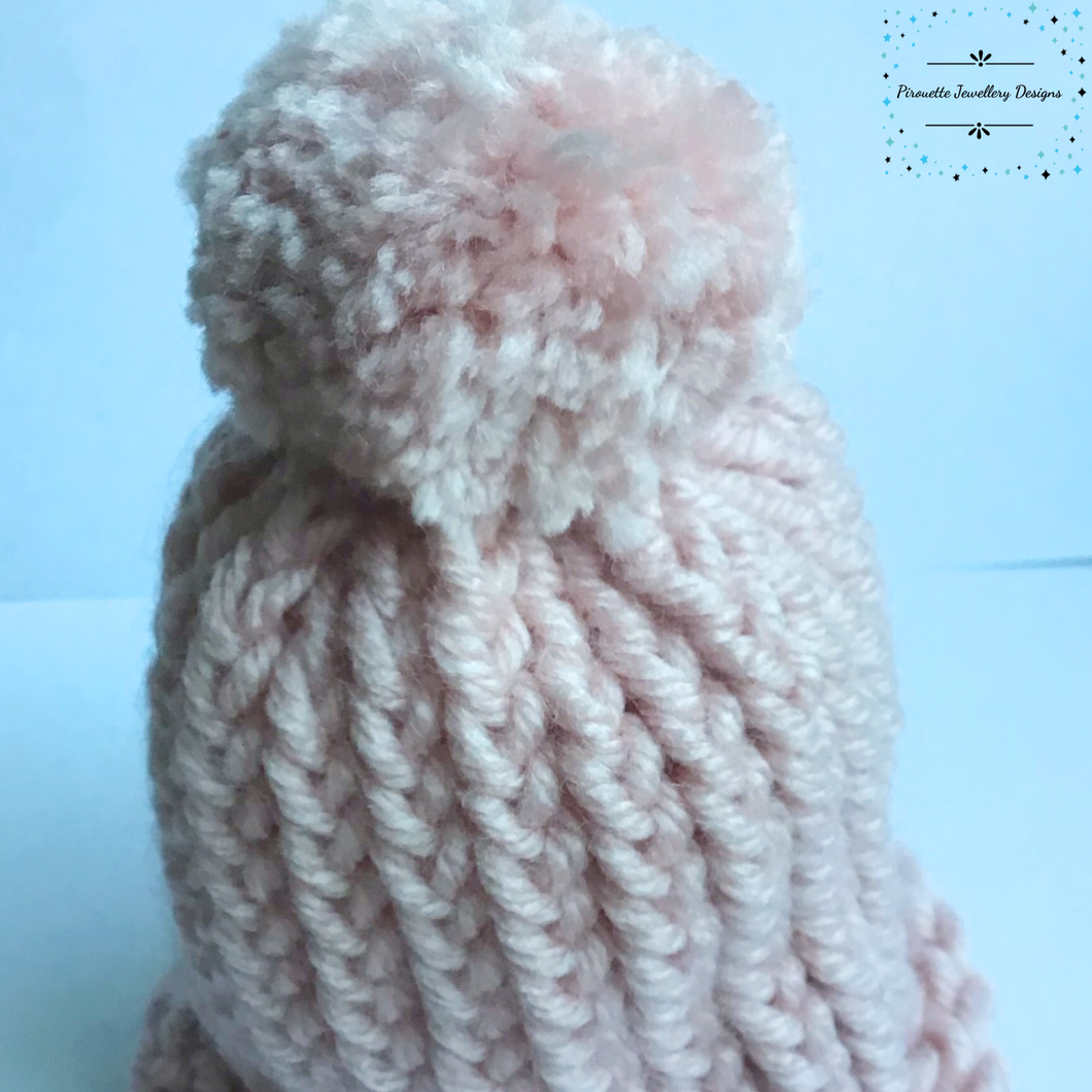 Blush coloured knitted baby hat with Pom-Pom - Pirouette Jewellery Designs