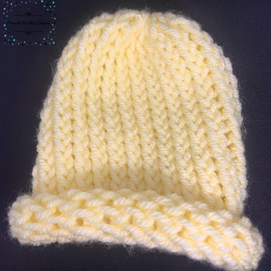 Pale Yellow Knitted Baby Hat - Pirouette Jewellery Designs