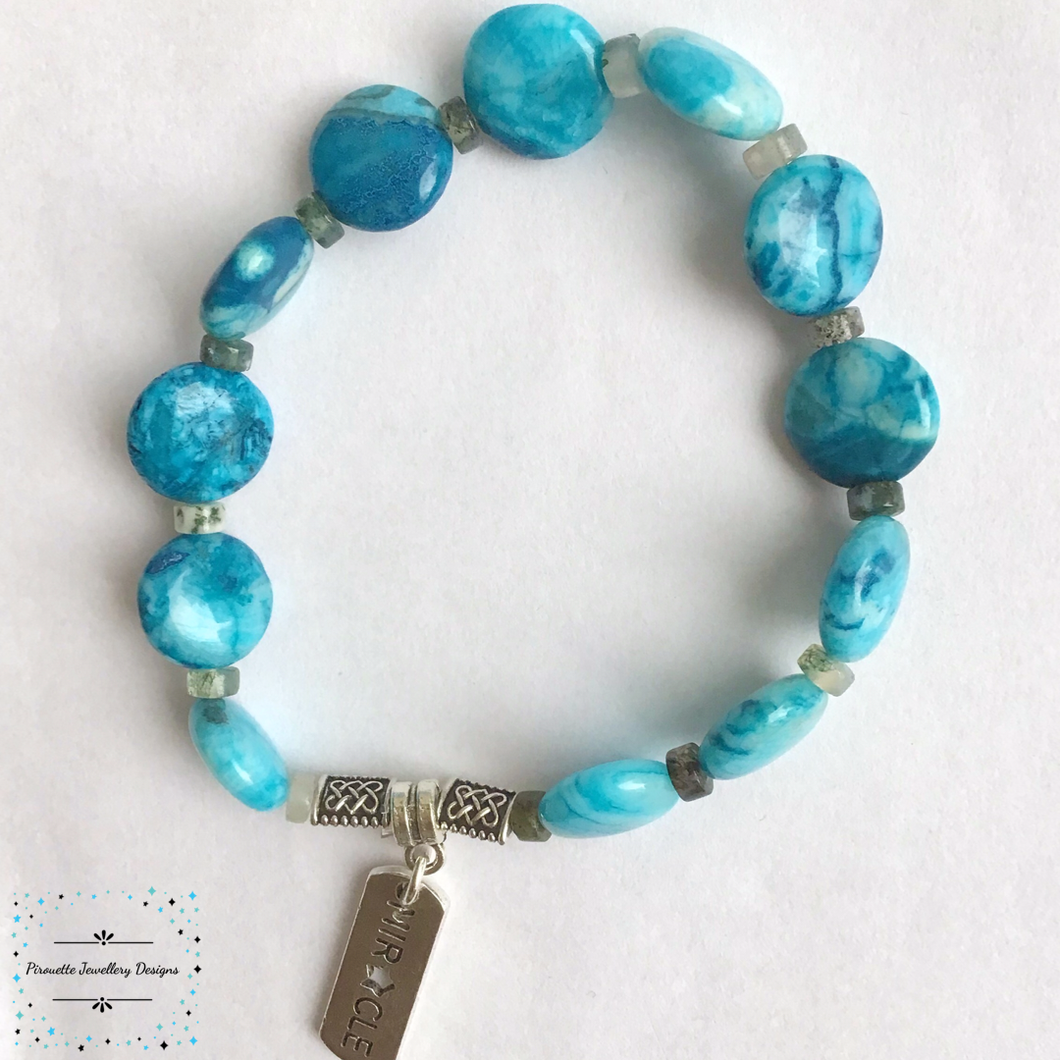Blue Genuine Agate Stretch Bracelet - Pirouette Jewellery Designs