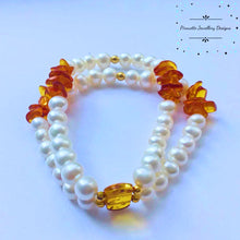 Load image into Gallery viewer, Baltic Amber and Pearl Stretch Bracelet - Pirouette Jewellery Designs