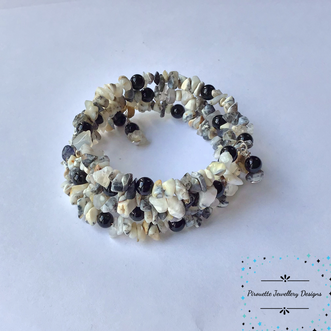 Dendrite Opal and Black Agate Memory Wire Bracelet - Pirouette Jewellery Designs