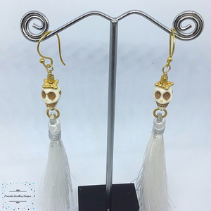 Skull and Tassel earrings - Pirouette Jewellery Designs