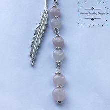 Load image into Gallery viewer, Rose Quartz Hearts bookmark - Pirouette Jewellery Designs