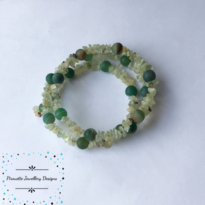 Prehnite and Green Agate Memory Wire Bracelet - Pirouette Jewellery Designs