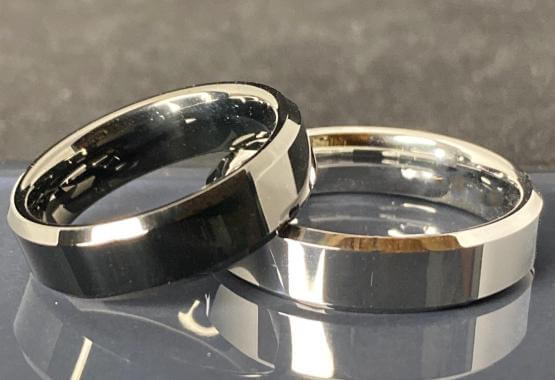 matching silver and black men's tungsten engagement rings