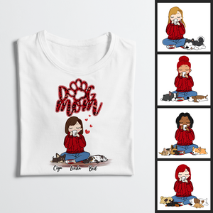 Personalized T-Shirt Dog Mom Red Pattern Chibi Girl Mother's Day Gift